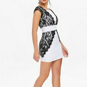 Dresses & Skirts - Black lace & white dress